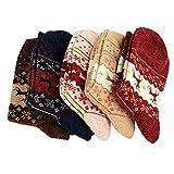Lot de 5 Paires Chaussettes Femmes Fantaisie Motif Cerf Noël Chaussettes Coton Automne Hiver Femme (lot de 5 couleurs différents)…