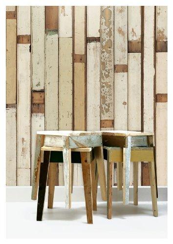NLXL Tapete im Holz-Look, von Piet Hein Eek, 1Rolle 900x48,7cm, Creme/Beige/Braun/Hellgrün - Scrapwood Wallpaper