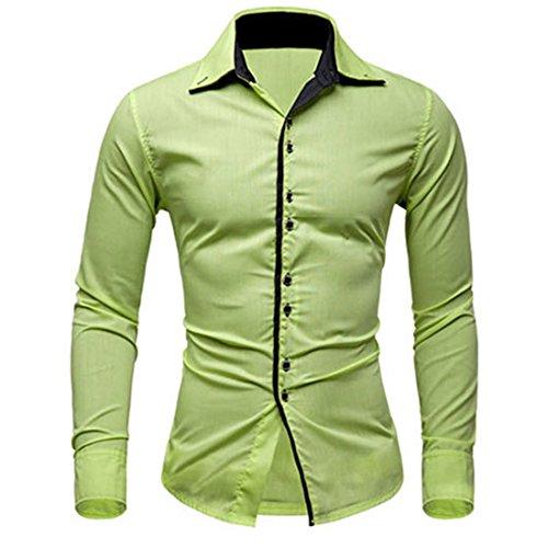 Men's Fashion Camisa Masculina Slim Fit Casual Shirts Fruit Green
