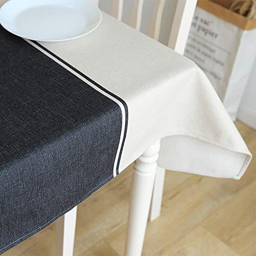 CFWL Algodón Azul Lino Negro Mantel Simple Mantel