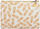 styleBREAKER Handtaschen Organizer mit Ananas Aufdruck, Clutch, Kosmetiktasche, Tasche, Damen 02013011, Farbe:Weiß-Orange
