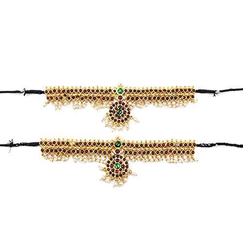 Adarsha Dress Palace Bharatnatyam Kuchipudi Dance Multicolour Brass Temple Ornament Baju Bandh