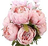 Ksnrang Fausses Fleurs Ancien Pivoine Artificielle Fleurs en Soie Bouquet Mariage Accueil Décoration (Printemps Rose Clair)