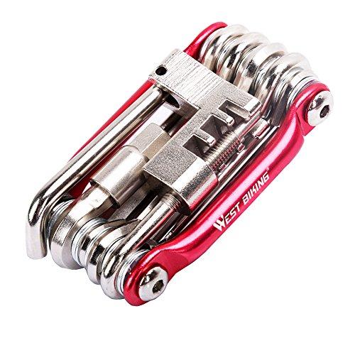 Bike Repair Tools Kit Set & Wartung, West Biking Mini Compact Fahrrad Multi Werkzeug mit Inbusschlüssel, Kinder Herren damen, rot (Diamondback Kit Tool)