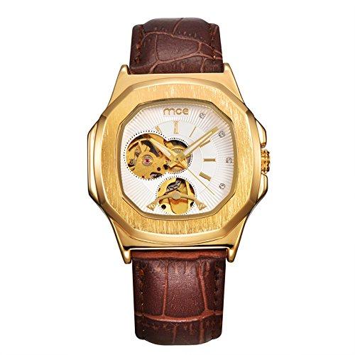Mens automatische mechanische Armbanduhr - Schwarzes Band Luxus Case ManChDa Steampunk Skelett-Zifferblatt + Geschenk-Box (Ata-100-spezifikationen)