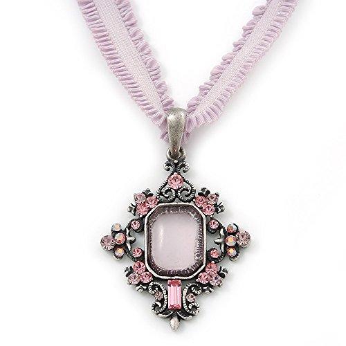 Viktorianischer Stil, Filigree, Pink, Kristall, Anhänger mit Stretch-Choker-Halskette in blassem Lavendel, gebranntes Silber