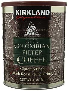 Kirkland Signature - 100% Colombian Filter Coffee Supremo Bean Dark Roast Fine Grind 1.36kg
