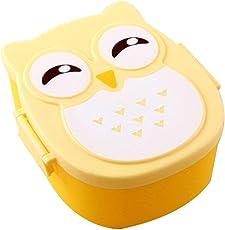 Brotdose Mit trennwand Kinder 2 Fächer Brotbox Ausflug Lunchbox Apfel Dose Cartoon Eule Bento Box leicht tragbar Frühstücksbox für Kindergarten Schule Picknick