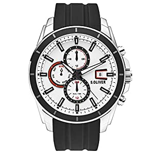 s.Oliver Herren Multi Zifferblatt Quarz Uhr mit Silikon Armband SO-3756-PM