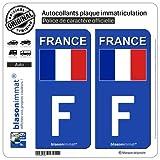 blasonimmat 2 Autocollants Plaque immatriculation Auto : F France - Drapeau (Côté Droit)
