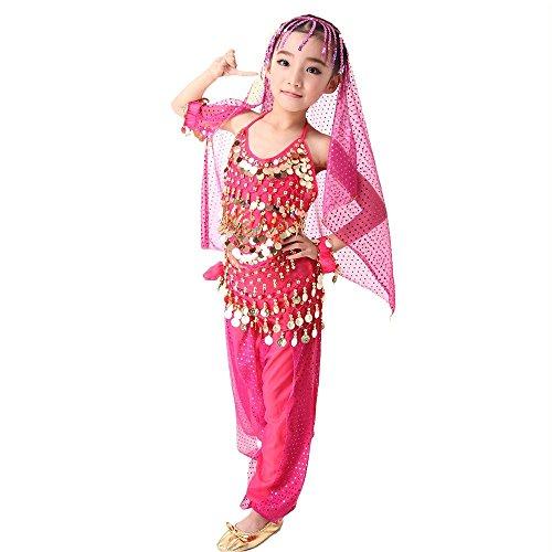 SymbolLife Mädchen Bauchtanz Kostüm Set Tanzkleid Kinder Tanzkleidung Karneval Kindertag Kostüme indianisch Tanzkostüme, Das Obere + Pluderhosen + Kopftuch + Armbänder + Bauchkette, S Rosa