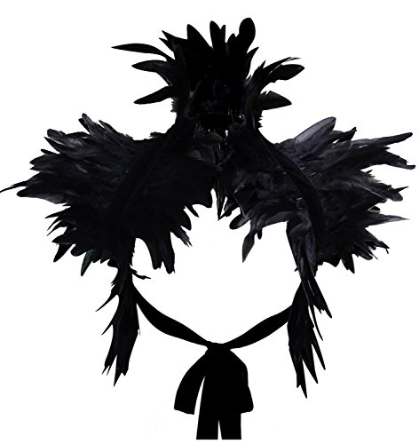 Gothic Flügel Kostüm - keland Victorian reale natürliche Feder Shrug Schal Schulterumhang Cape Gothic Kragen Halloween-Kostüm (Schwarz)