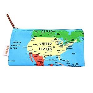 lparkin mundo mapa estuche estudiantes capacidad estuche de lona pluma bolso de la bolsa, color mapamundi