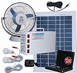 Vicco Solar Home Light Set 12 Volt + Fan(White, 10 Watt Panel),White