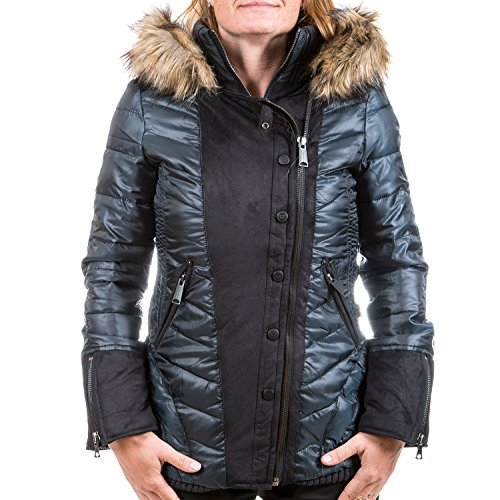 Khujo giacca invernale donna Barbo Charcoal Black Grey Melange dark blue (P3) L