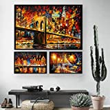 Juzie Leinwanddrucke 3 Teiliges Bilder Set, Wandbilder Dekorative Malerei für Wohnzimmer Schlafzimmer Arbeitszimmer, Feuerwerk 35 x 23cm