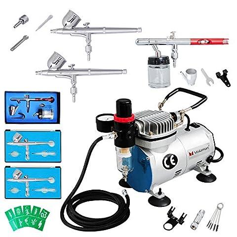 Voilamart Air Brush Dual Action Compressor 1/6hp Needles Hose Paint Kit 3 Airbrush Spray Guns for Make