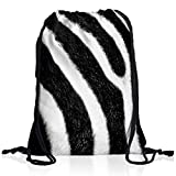 style3 Zebrafellmuster Rucksack Tasche Turnbeutel Sport Jute Beutel Zebra