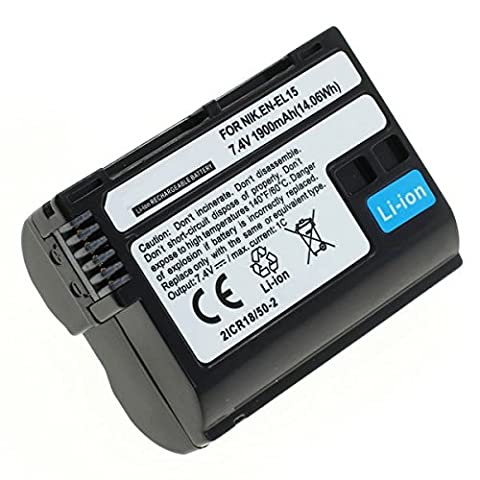 subtel® Qualitäts-Akku für Nikon D750, D500, D600, D610, D800, D7000, D7100, D7200, 1 V1, MB-D12 - 1900mAh - Nikon EN-EL15, ENEL15 Ersatzakku, Battery