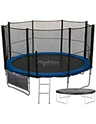 PlayActive 10FT Trampoline With FREE Safety Net Enclosure, Ladder, Rain Cover