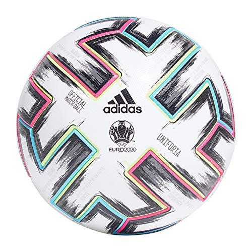 adidas Men\'s UNIFO PRO Soccer Ball, White/Black/Signal Green/Bright Cyan, 5