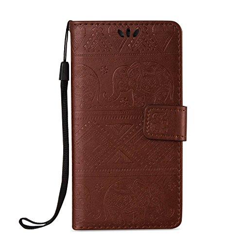 Etsue Lanyard Handytasche für iPhone 7 4.7 Zoll 2016 Braun, Brieftasche Hülle für iPhone 7 4.7 Zoll 2016 [Elefant Indien] Muster Strap Lederhülle Handyhülle Einzigartig Flip Hülle Prägung Leder Schutz Elefant,Braun