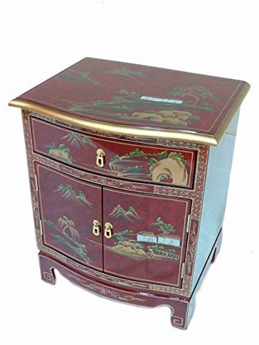 Newquay-Bonsai Red Lacquered Artistry Design Cabinet Oriental Furniture Chinese Furniture Art