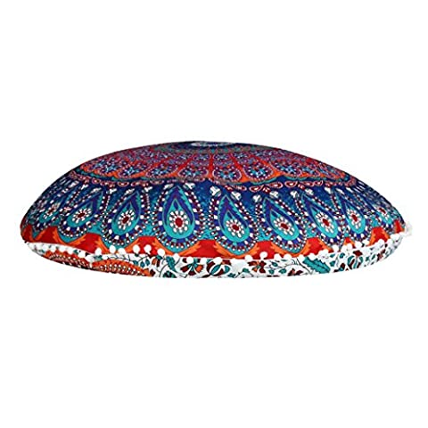 Omiky® 31.5Inches Large Mandala Floor Pillows Round Bohemian Meditation Cushion Cover,Polyester Cushion Cover Sofa Bed Home Decor Waist Pillow Cushion Sheel Ottoman Pouf (Pattern D)