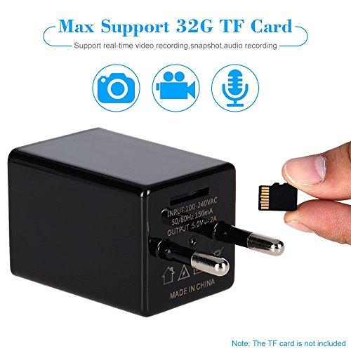 TKStar - Mini cámara oculta de vídeo Home Security, full HD 1080P, cámara espía, con cargador, Wi-Fi, grabador de vídeo, DVR, Camcorder, activación por movimiento, grabadora, compatible con PC, Apple, iOS, Android, smartphone, App, visión remota, cód. SW01