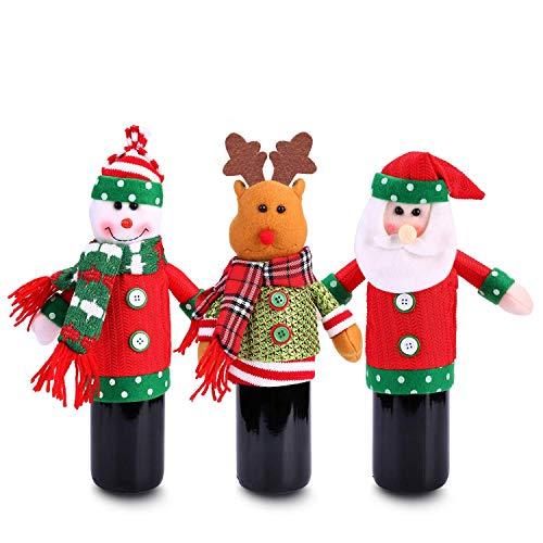 (Ugly Pullover Christmas Party Kit, Konsait Weihnachten Weinflasche Abdeckung (3 Stück) Schneemann elf weinflasche Beutel Wrap Pullover Flaschenhülle Weihnachtlicher Geschenke Tisch Party Dekoration)