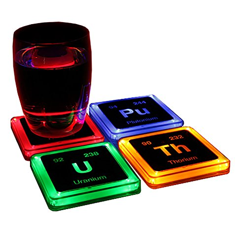 Sous-verres lumineux radioactifs Set de 4