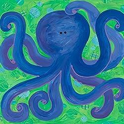 Oopsy Daisy Indigo Octopus by Stephanie Bauer Canvas Wall Art, 14 by 14-Inch