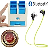 Elevea Bluetooth Wireless Sports Headphones With Mic & Mini USB Cooler Portable Desk Table Fan For Office Home-Assorted Colour (1 Year Warranty)