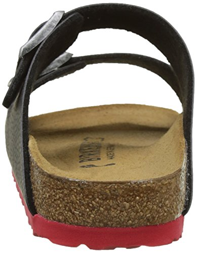Birkenstock Arizona, Bout Ouvert Mixte Adulte Noir (Desert Soil Black/ Ls Red)