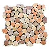Divero Flusskiesel Flussstein Naturstein-Mosaik Fliesen für Wand Boden creme braun terracotta 11 Matten 30 x 30cm