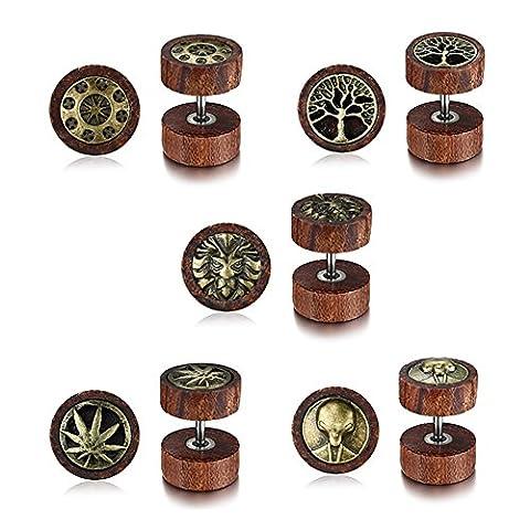 Vnox 5 Paires Antique Koa Wood Boucles d'Oreilles Dumbbells Sculpt¨¦es Piercing Ear Plugs for Men Women Punk Rock