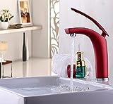 PEIWENIN-Bad WC kreative Farbe Kupfer heiß und kalt Wasserhahn Bad Tisch Waschbecken Waschbecken Waschbecken einzigen Loch Becken Becken Becken rotierenden Wasserhahn, rot