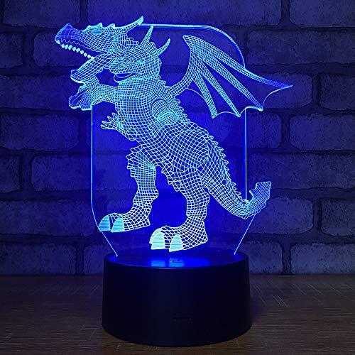 Bbdeng 3D-Nachtlicht Energie Sparen LED-Touch-Farbe Beleuchtung Kreative Kinder Schlafen Tischlampe USB Oder Batterie König Ghidrah Remote control -