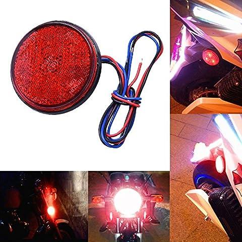 Zyurong 24 SMD LED High Light Car Rear Tail Light Indicator Lamp Atv LED Reflectors - Motorcycle Round Reflector Tail Brake Turn Signal Light Lamp Red
