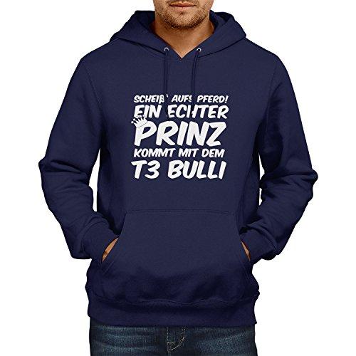 TEXLAB - Ein echter Prinz kommt mit dem T3 Bulli - Herren Kapuzenpullover, Größe M, navy (Geek Kostüme Ideen)