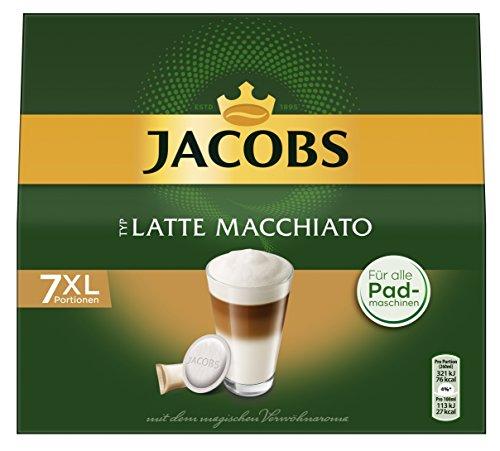 Jacobs Krönung'Latte Macchiato' Pads, 7 Kaffee Pads und 7 Milchkompositionen, 6er Pack (6x 162g)