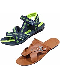 Indiweaves Men's KRS Casual Sandal And Floaters Office Sandal-Green/Blue/Green/Blue- Pack Of 2 Pairs