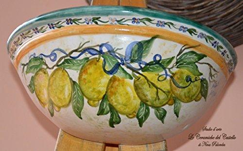Vaso Da Muro Svuotatasche Ceramica Linea Limoni Realizzato e Dipinto a Mano Le Ceramiche del Castello Nina Palomba Pezzo Unico Dimensioni L 35,70 x H 13 cm.