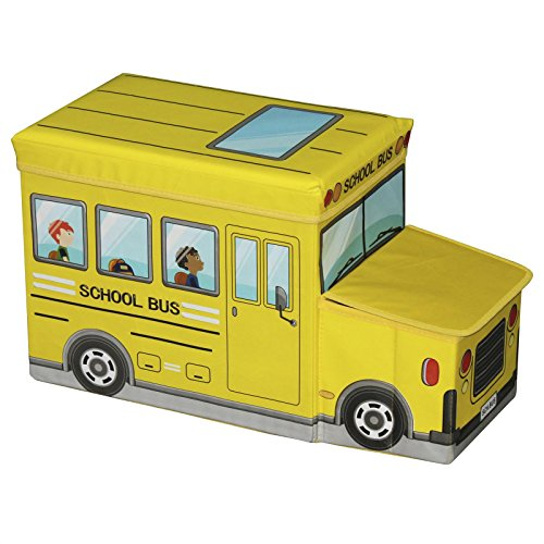 IDIMEX Sitzhocker Spielzeugtruhe Bus in Gelb Faltbar mit Stauraum und Abnehmbaren Deckel