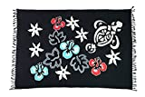 Sarong Pareo Wickelrock Strandtuch Handtuch Wickelkleid Strandkleid Schal ca. 170cm x 110cm Gecko Blumen Muster Schwarz Eidechse