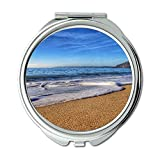 Yanteng Spiegel, Schminkspiegel, Strand Küstenlandschaft, Taschenspiegel, tragbarer Spiegel