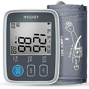 Blutdruckmessgerät, HYLOGY LCD-Großbild-Display Digital Vollautomatisch Medizinischer Oberarm Blutdruckmessgerät zum Pulsmessung und Arrhythmie-Erkennung [22cm – 32cm Standard-Manschette] Mehrweg