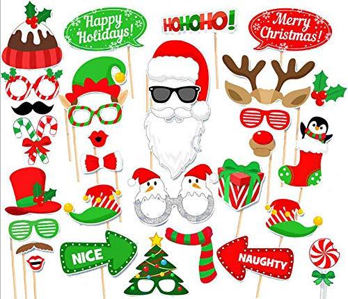 Tukistore 32 Stück Weihnachten Party Foto Requisiten kreative Gegenstände Fotoaccessoires DIY Kit Photo Booth Requisiten Photo Booth Props Zubehör Set für Weihnachten Hochzeit, Valentinstag, Party