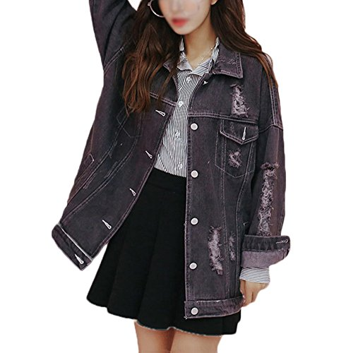Damen Casual Jeansjacke Mit Patches Blouson Knopfverschluss Cut-Outs Denim Jacket Outwearrauchfarben