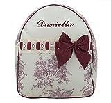 Mochila o bolsa infantil lencera personalizada con nombre en plastificado de angelitos, pasacintas...